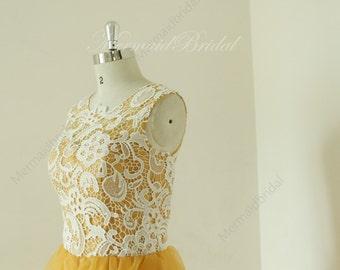 Vintage short lace gold bridesmaid dress,bridesmaid gown, bridal party dress