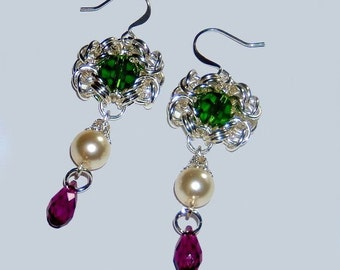 Green white and purple dangle earrings, byzantine romanov chainmaille earrings with Swarovski elements, lightweight , great for gifts
