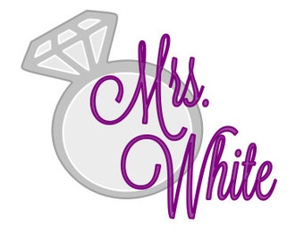 Mrs Decal with Ring, Wedding Decal, Car Decal, Bride Decal