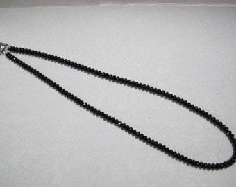 Long Black Crystal Necklace