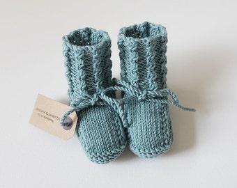 CUILLIN IN AQUA - hand knit merino wool baby booties