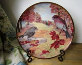Bird Art Collectible Plate - Decor for Fall - Vintage 1985