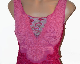 Cool Hot Pink Purple Dressy Sleeveless Top Beautiful Textured Lace Top