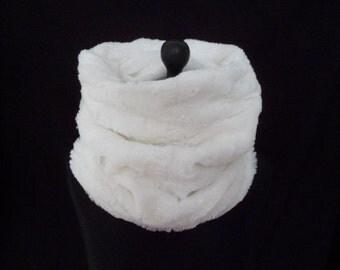 cream faux fur snood, cowl, scarf, neck warmer, collar, wrap