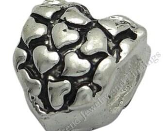 BULK - 10 pcs - Antique Silver Spacer Stopper Heart Beads - Large Hole Metal Beads - fits European Style Charm Bracelets - EB050