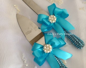 Turquoise Wedding Cake Server Set