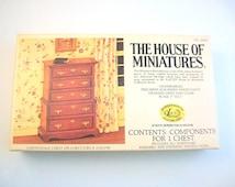 Miniature Dresser, Dollhouse Dresser, Dollhouse Furniture, Miniature Furniture, DIY Furniture Kit, Chippendale Dresser, 5 Drawer Dresser