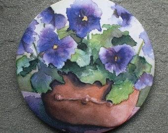 Pansy Sandstone Coaster