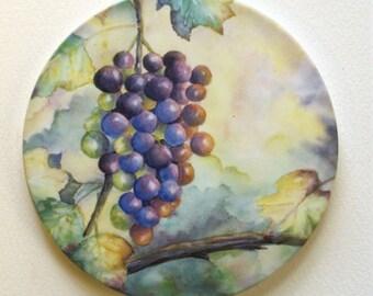 Grapes Sandstone Coaster Original Watercolor