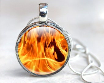 Fire Necklace - Flames Necklace Pendant - Flames Photo Necklace - Fire Glass Pendant (FNF1)