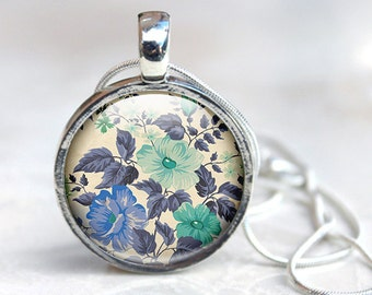 Vintage pattern jewelry, Floral Pattern Necklace, Glass Necklace, Flowers, Glass Photo pendant, picture pendant, photo jewelry blue green