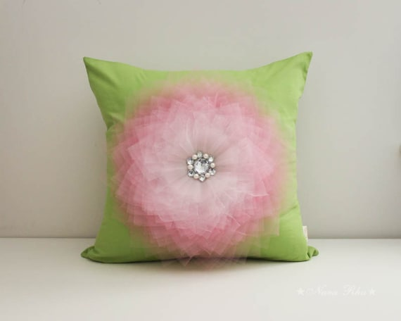 Green Pillow Decorative Pillow Pillow Cover Pink and Green