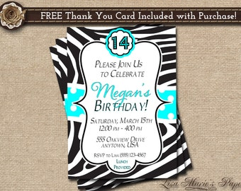 zebra birthday invitation, girl birthday party invitation, handmade girl digital invitation - DIY PRINTABLE - FREE Thank You Card