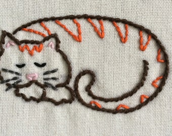 Hand embroidered kitten wall hoop art