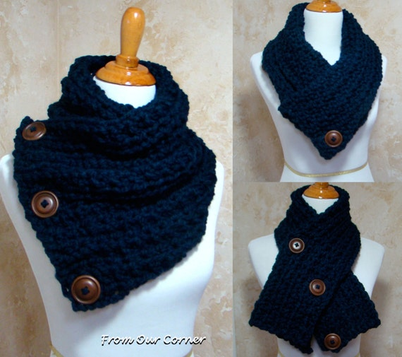 Free Crochet Pattern For Dallas Dream Scarf : Crochet Scarf 3 Button scarf Wrap cowl Dallas Dreams Scarf
