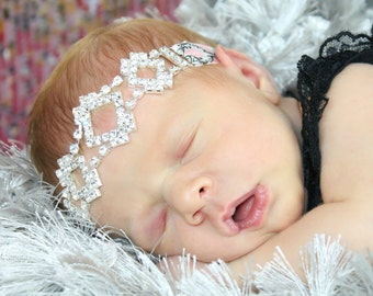 Sweet Rhinestone Connector Headband Preemie to Adult