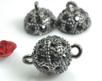 10 Sets of Gun black Crystal Magnetic Clasp in 10mm
