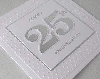Handmade 25th silver wedding anniversary card, congratulations