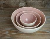 Rose Pink Nesting Bowls, Hand Painted Prep Bowls, Earthenware, Set of Three, Pale Pink