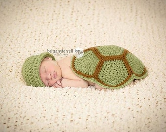 Newborn Turtle Shell and Hat, crochet turtle shell