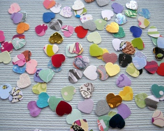 paper punched hearts /Hand punched hearts / mixed colour paper hearts / small paper punched hearts / 100 hearts assortment / uk seller