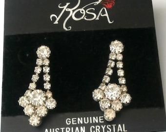 Austrian Crystal Post Earrings in Silver-tone (D)