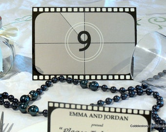 Movie theme Wedding Table Numbers, Movie theme Party, Film Reel Table Cards, Old Hollywood glamour decorations