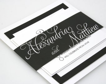 SAMPLE Fancy Script Formal Modern Wedding Invitation Suite Wedding Invite Quinn Design