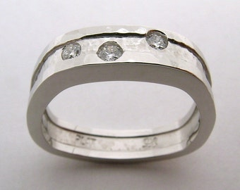 Hand Made and Hammer Forged Stirrup shape Platinum and Canadian diamond wedding Ring