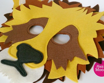 Lion Mask for Pretend Play, Dress up, 100% Wool Felt, Eco Friendly, Child to Adult sizing.