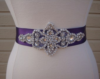 Purple Rhinestone Bridal Sash - Wedding Belt - Bridesmaid Sash - Wedding Dress Sash - Crystal Sash - Prom Belt - Gown Sash - Rhinestone Belt