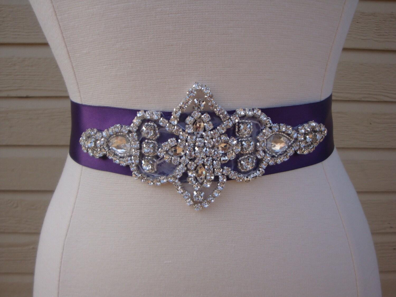 Purple Rhinestone Bridal Sash Wedding Belt Bridesmaid