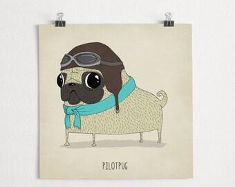 Aviator pug illustration, pilot dog art print, Limited edition // Pilotpug