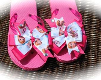Frozen Sandals, Frozen Flip Flops, Anna Sandals, Elsa Sandals, Disney Shoes, Disney Bow, Frozen Bow, Anna Hair Bow, Elsa Hair Bow,