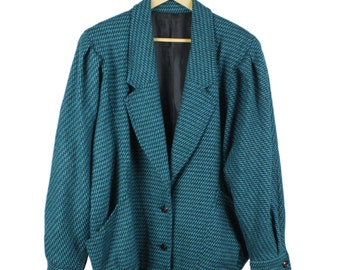 Vintage 80s Check Coat, Teal & Black, Slouch, Batwing