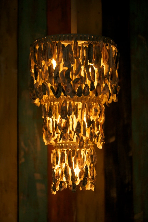 Oyster Shell Chandelier By Driftalonglamps On Etsy