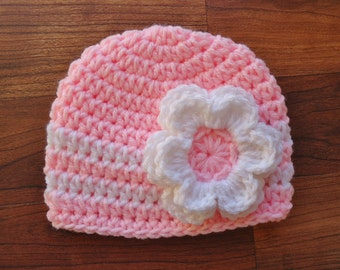 Crocheted Pink Baby Girl Hat with Flower, Baby Shower Gift, Newborn Photo Prop - Pastel Pink & White - Newborn to 5T - MADE TO ORDER