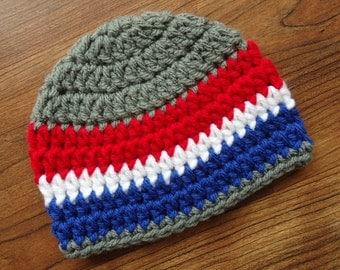 Crocheted Baby Boy Fourth of July Hat, Crocheted Baby Boy Beanie in Pewter Gray with Red, White, & Blue, Newborn to 5T - MADE to ORDER