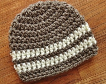 Crocheted Baby Boy Hat, Taupe with Cream Stripes, Baby Shower Gift, Newborn Photo Prop, Newborn to 5T - MADE TO ORDER