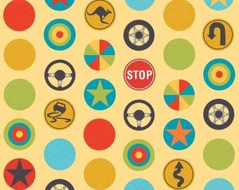 Peak Hour Stop Signs, Yellow by Riley Blake BTY #528