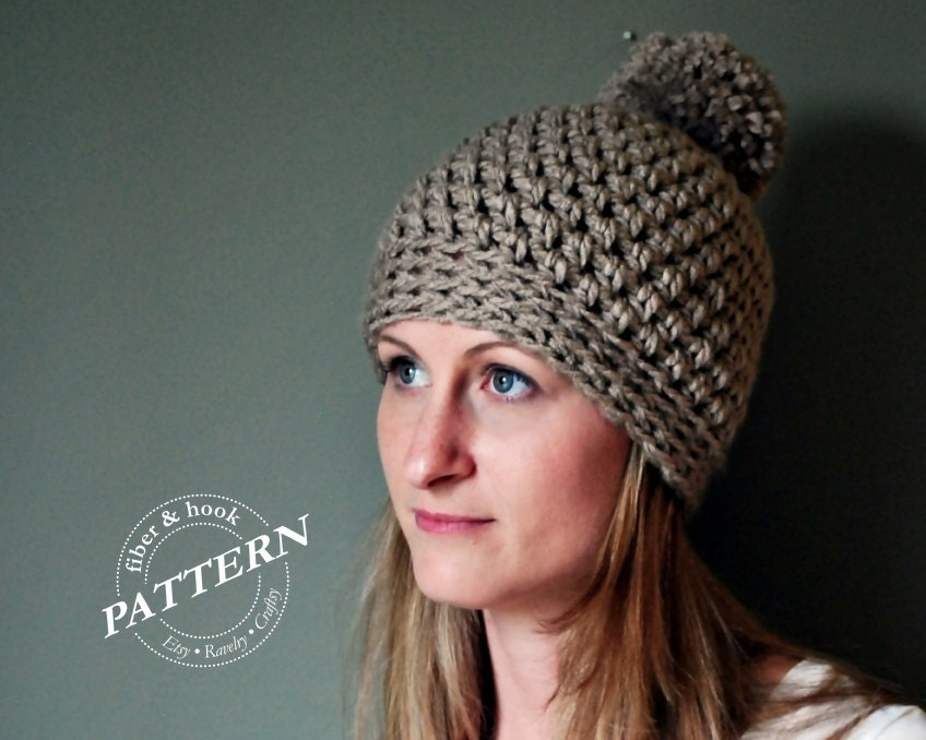 Free Crochet Pattern For Chunky Baby Hat : CROCHET PATTERN Chunky Pom Pom Beanie Crochet Pattern