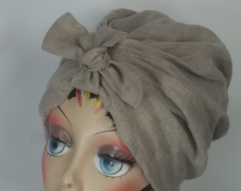 Linen, fashion turban, hat, beige, vintage style, chemo, designer, summer, snood, head covering, size Sm, Med, L, XL.Free shipping in USA.