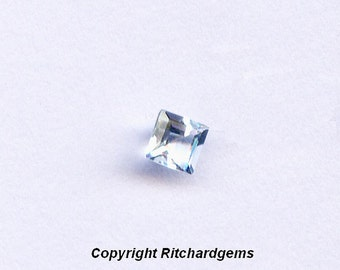 3mm Semi Precious Natural Faceted Square Cut Loose Light Blue Aquamarine AAA for One