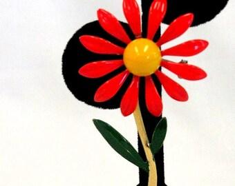 Vintage Enamel Orange Flower Brooch/Pin