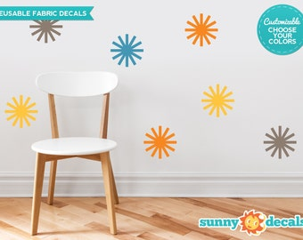 Starburst Fabric Wall Decals  - Set of 8 Starbursts in 4 Colors - Custom Options Available - Reusable, Repositionable