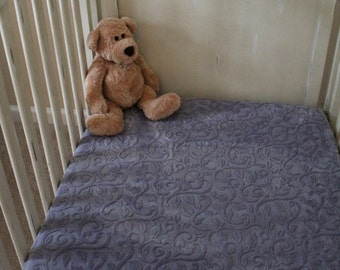 Minky Crib Sheet, Embossed Vine in Gray, Baby, Toddler, Crib Bedding