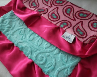 Bright Pink Paisley Lovey, Lovie Blanket with Solid Navy Minky Dimple Dot on Reverse, Pink, Magenta, Turquoise, Aqua - Baby Shower, Woobie