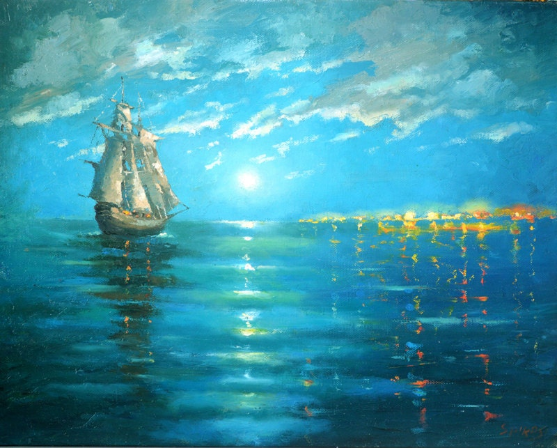 caribbean seascape paintings sunset on the caribbean sea palette knife oil painting on