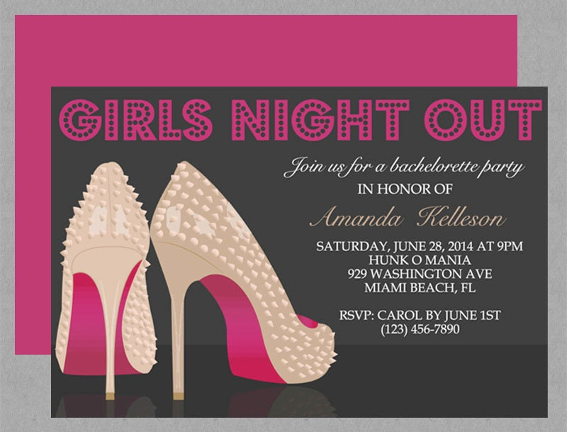 Spiked Stilettos Girls Night Out Invite Editable by MyDIYDesigns