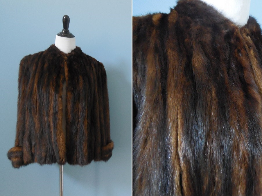 Vintage Beaver Fur Coat Real Fur Jacket Bell Sleeve